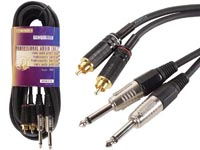 CABLE PROFESSIONNEL AUDIO, 2 x RCA MALE VERS 2 x JACK MONO 6.35mm (5m)