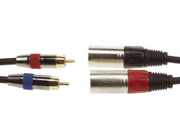 CABLE, 2 x RCA MALE VERS 2 x XLR MALE, 1m