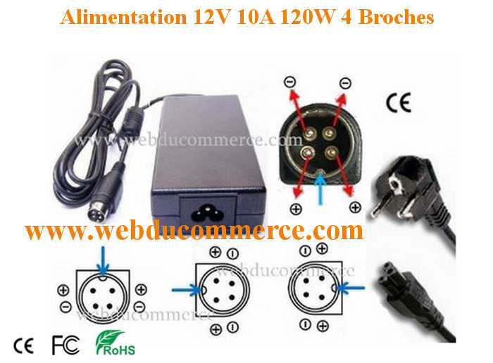 Alimentation 4 pin 12v for Prise ecran