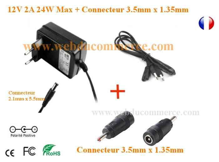 cable alimentation 12v 2a connecteur 3 5 x 12v. Black Bedroom Furniture Sets. Home Design Ideas