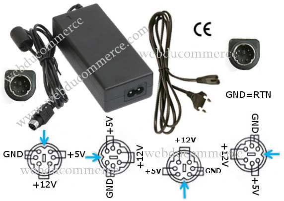 Alimentation 12V 1.5A 5V 1.5A 6 pin