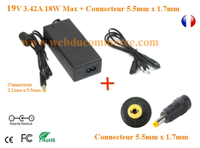 Chargeur pc portable 19V 3.42A 65W avec embout 5.5 x 1.7 mm