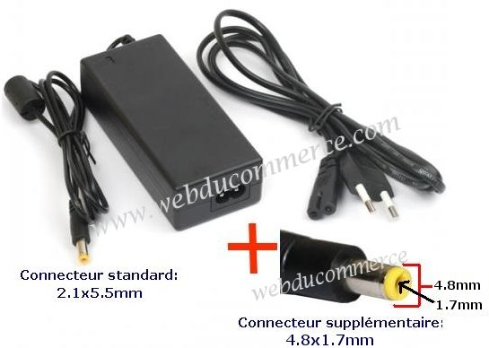 Chargeur pc portable 19V 3.42A 65W + embout 4.8 x 1.7 mm