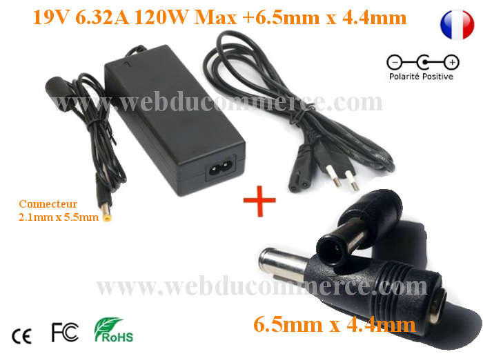 Alimentation Notebook Pc Portable 19V 6.32A 120W + fiche 6.5x4.4mm