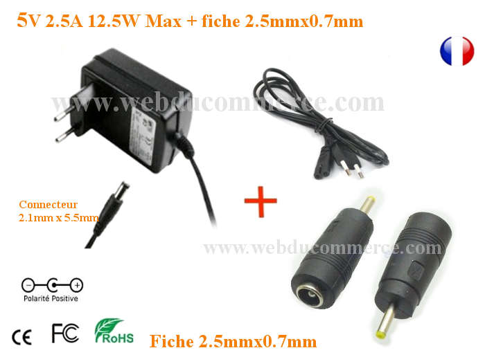 Alimentation Chargeur 5V 2.5A 12.5W+Broche 2.5mmx0.7mm