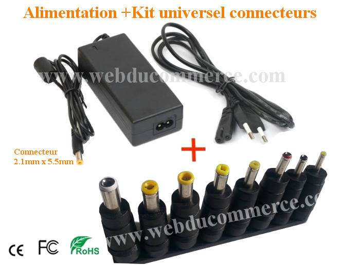 Cordon alimentation  | 24V 2.3A 55Watts+ kit universel 8 embouts