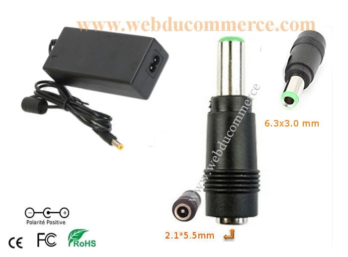 Cable alimentation  | 12V 8.33A 100W + fiche 6.3 x 3.0 mm