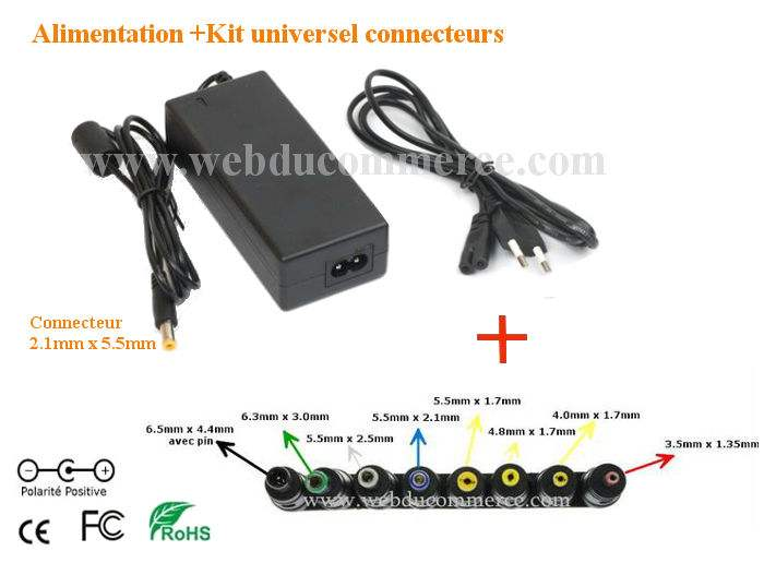 Bloc alimentation  | 12V 9A 108W+ kit universel 8 embouts