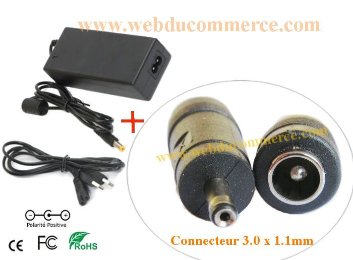 Adaptateur  | 18.5V 3.24A 60W+ embout 3.0 x 1.1  mm