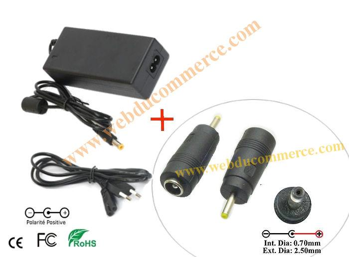 Chargeur secteur alimentation  | 19V 3.42A 65Watts+2.5 x 0.7  mm