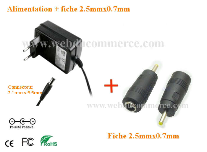 Chargeur alimentation  | 5V 1A ou 1000mA 5 Watt + embout 2.5 x 0.7 mm