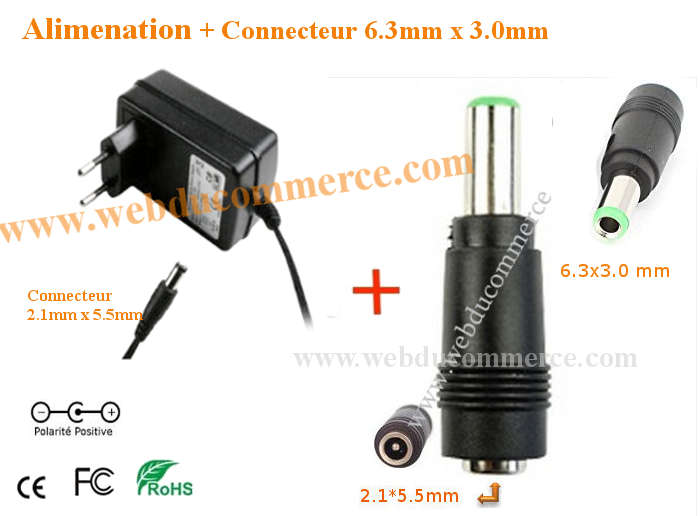 Chargeur d alimentation  | 5V 3A ou 3000mA 15 Watts + embout 6.3 x 3.0 mm