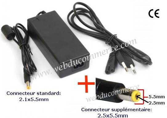 Alimentation 18V 3.5A 63W avec 2 fiches
