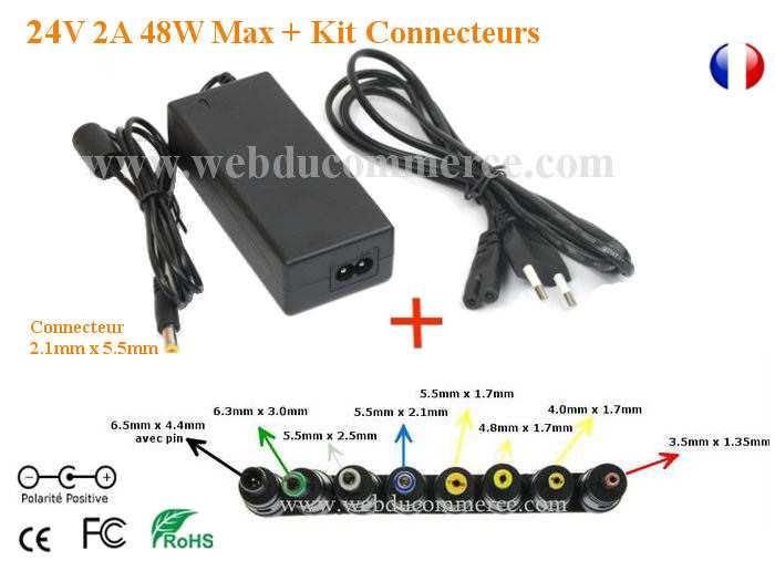 Alimentation chargeur 24V 2A 48W avec Kit universel 8 Embouts