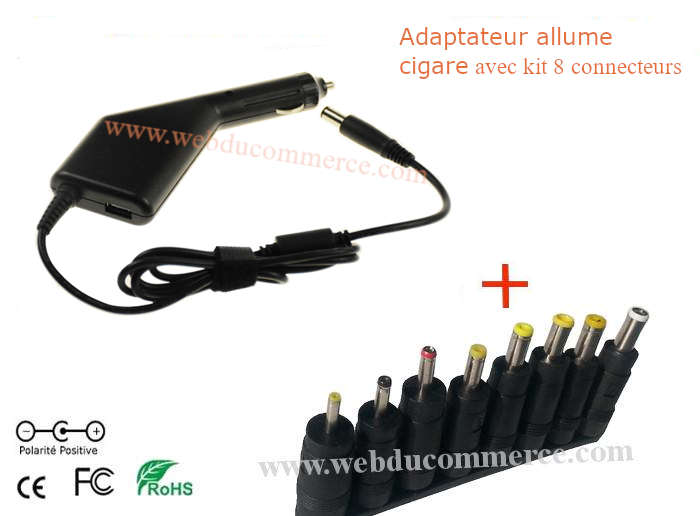 Alim chargeur voiture 20V 1A 20W + 1 port usb 5V 2A + 1 fiche 2.1x5.5mm