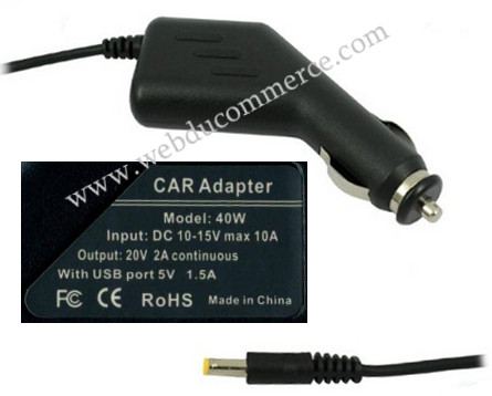 Alim chargeur voiture 20V 2A 40W + 1 port usb 5V 1.5A + 1 fiche 2.1x5.5mm
