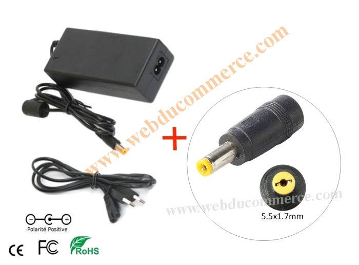 Alimentation  | 19V 4.7A 90W+ fiche 5.5 x 1.7  mm