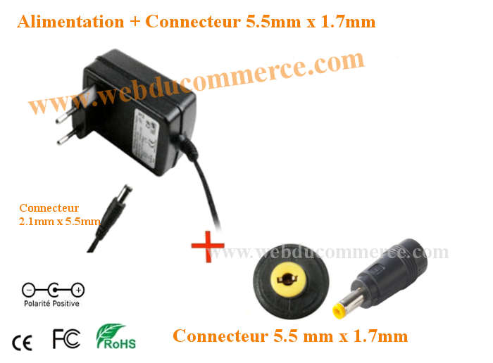 Cable alimentation  | 5V 1.5A ou 1500mA 8 Watt + connecteur 5.5 x 1.7 mm