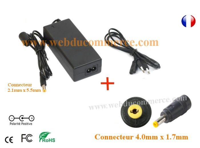 Cordon alimentation  | 24V 3.33A 80W + embout 4.0 x 1.7 mm