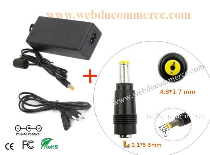 Cordon alimentation  | 24V 4.17A 100 Watt + embout 4.8 x 1.7 mm