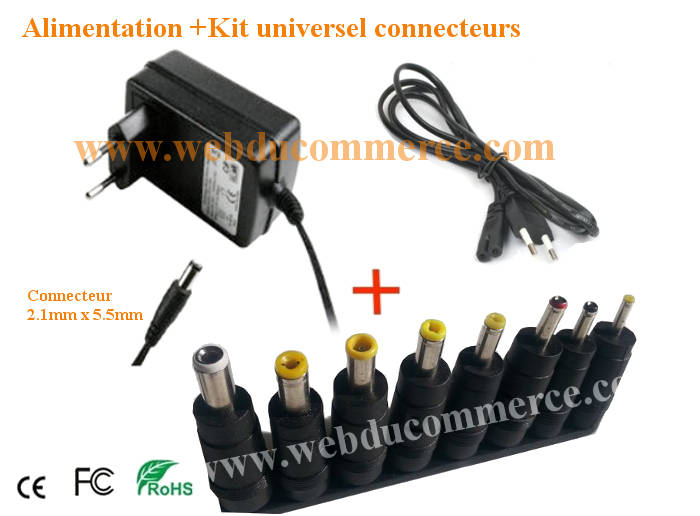 Chargeur alimentation  | 5V 1.7A 9Watts+ kit universel 8 embouts