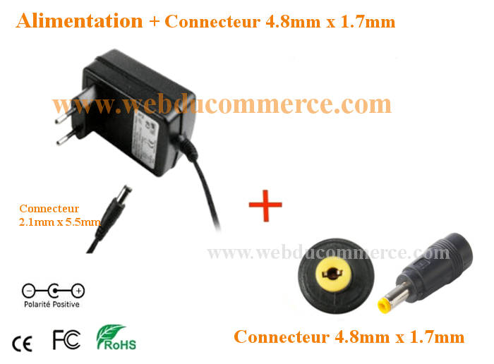 Chargeur d alimentation  | 5V 2A ou 2000mA 10 Watt + embout 4.8 x 1.7 mm