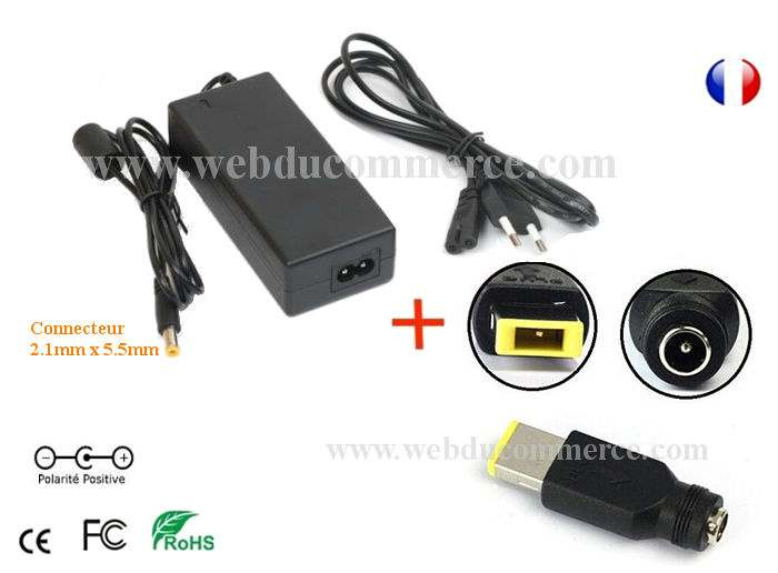 Cordon alimentation  | 5V 4A 20W + connecteur Lenovo Square