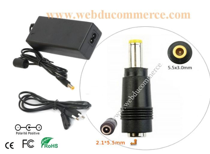Cordon alimentation  | 24V 5A 120 Watts + connecteur 5.5 x 3.0 mm
