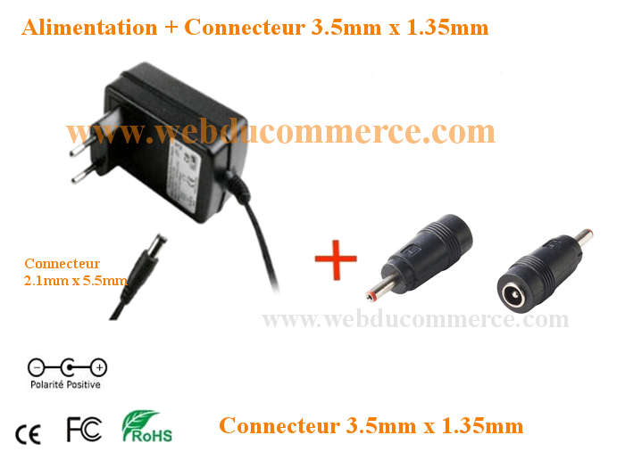Cordon alimentation  | 5V 1A ou 1000mA 5W + connecteur 3.5 x 1.35 mm