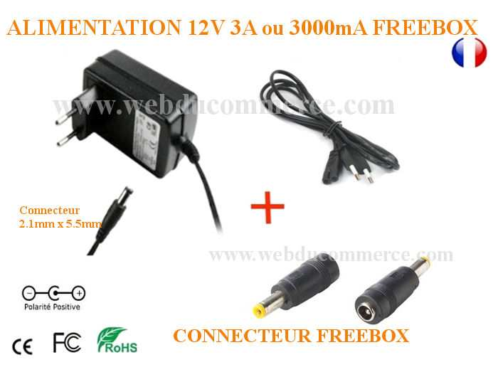 Alimentation Freebox Crystal 12V 3A ou 12V 3000mA